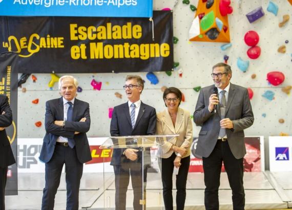 Severine Fontanges, Vice-Présidente du SIOL inauguration mur d'escalade La Dégaine