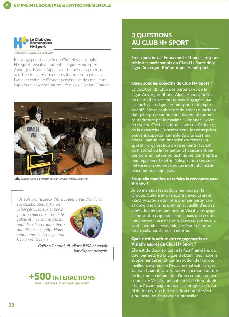 article dans le rapport d'activité RSE de Visiativ avec Emmanuelle Thomas et Gaëtan Charlot