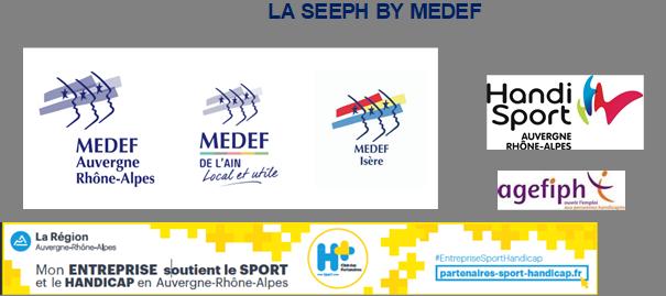 logos du medef, de la ligue Auvergne Rhone Alpes handisport et du club H+Sport